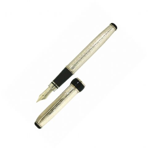 Sterling Silver Fountain Pen - Via Roma Wave Design - Hallmarked Sterling Silver